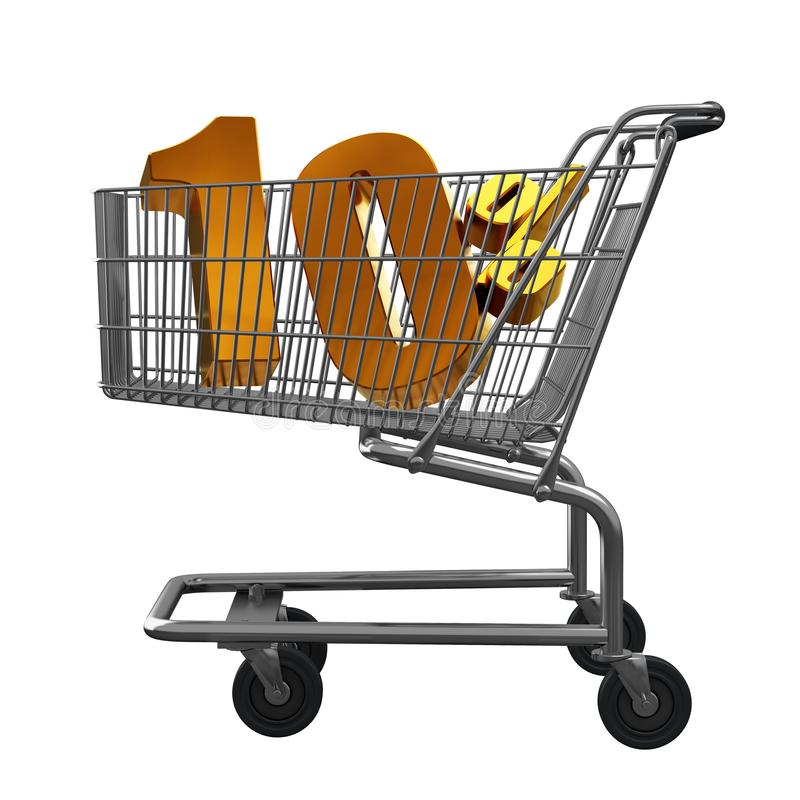 3D illustration of Shopping cart with 10 pocent discount in gold isolated vector illustration