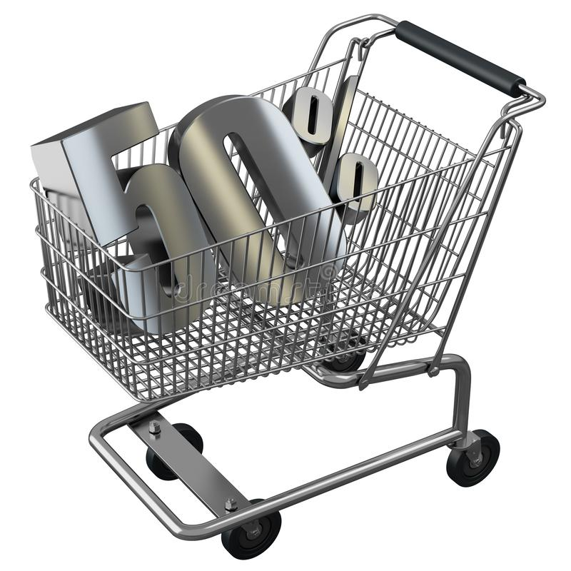3D illustration of Shopping cart with 50 pocent discount in silver. vector illustration