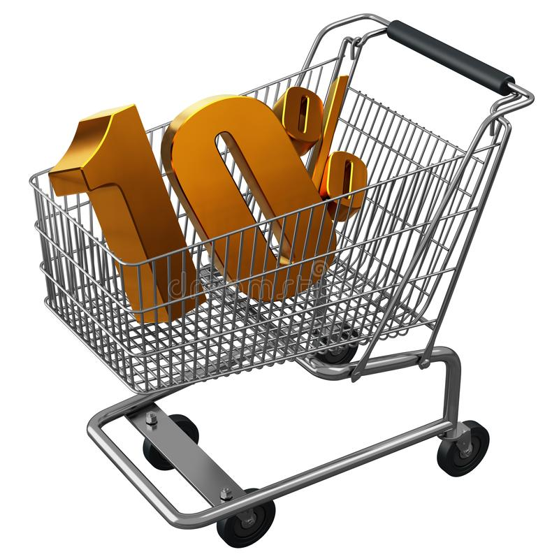 3D illustration of Shopping cart with 10 pocent discount in gold isolated stock illustration