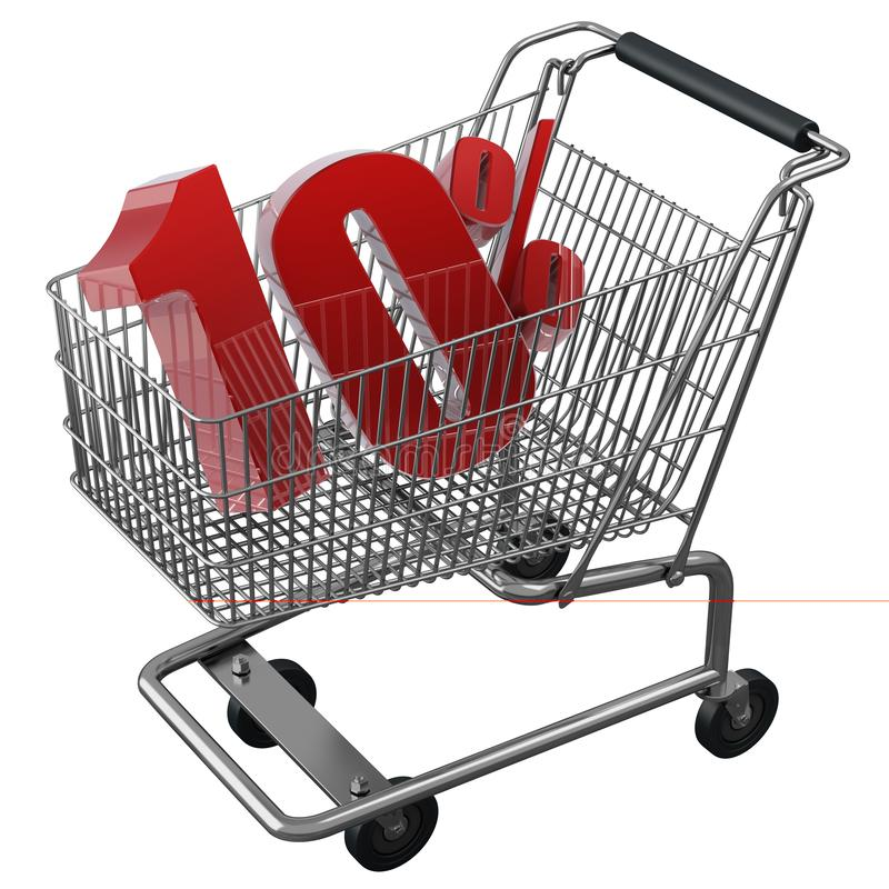 3D illustration of Shopping cart with 10 pocent discount in red isolated vector illustration