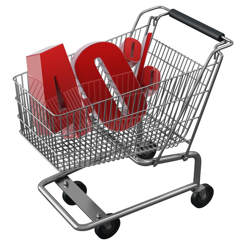 3D illustration of Shopping cart with 40 pocent discount in red isolated vector illustration