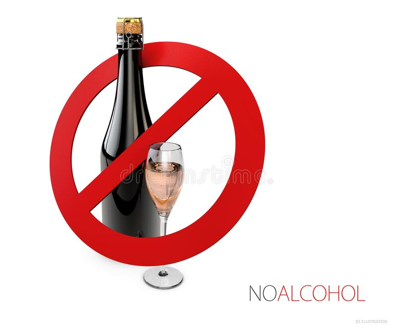 3d Illustration of sign no alcohol, isolated white stock illustration