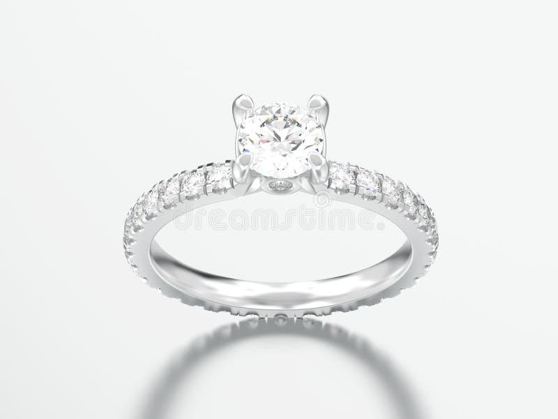 3D illustration silver engagement wedding diamond ring. On a grey background stock illustration