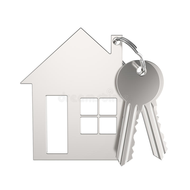 3D illustration silver gold key with keychain in the form of a s stock illustration