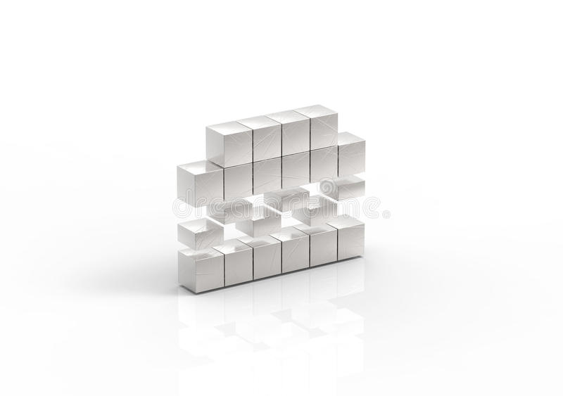 Download 3d Illustration Of Silver Hamburger Symbol Made From Blocks Stock Illustration - Image: 83703727
