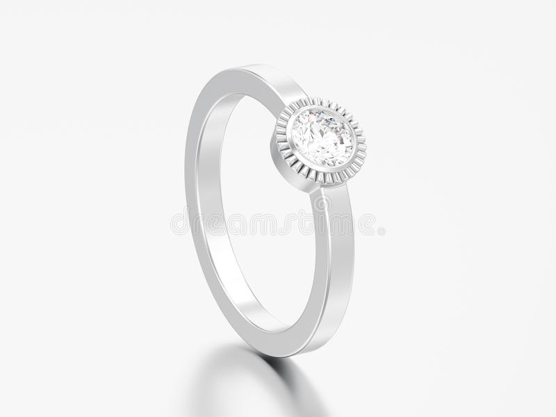 3D illustration silver wedding solitaire round diamond bezel ring. On a grey background vector illustration