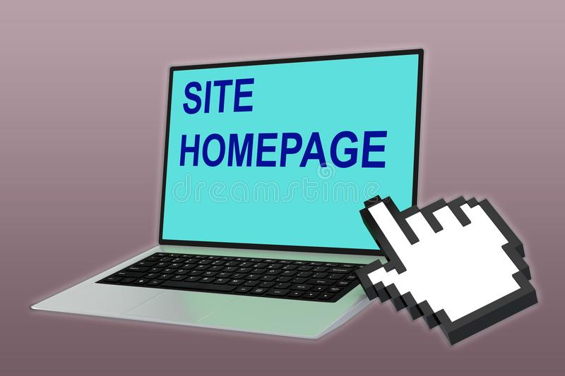 Site Homepage concept. 3D illustration of SITE HOMEPAGE script with pointing hand icon pointing at the laptop screen vector illustration