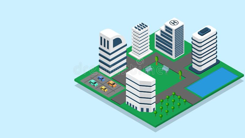 3D illustration of skyscraper building with car parking for Smart City concept. stock illustration
