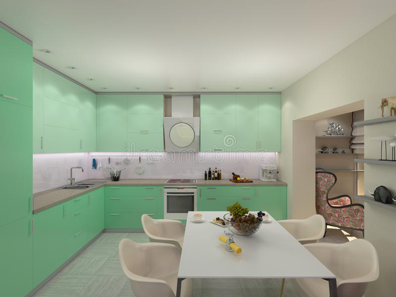 3d illustration of small apartments in pastel colors. Green modern kitchen royalty free illustration
