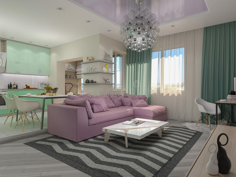 3d illustration of small apartments in pastel colors. Green modern kitchen, living room royalty free illustration