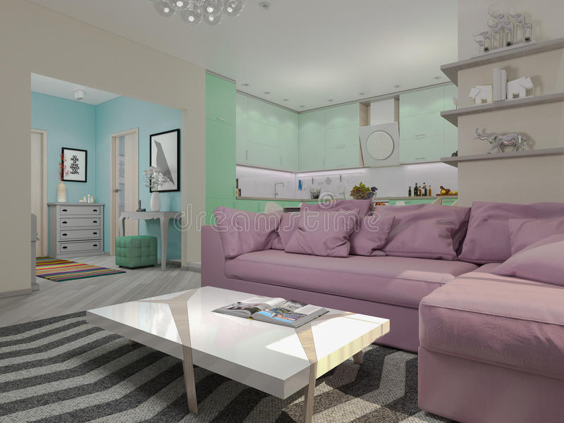 3d illustration of small apartments in pastel colors. Green modern kitchen, living room, lobby vector illustration