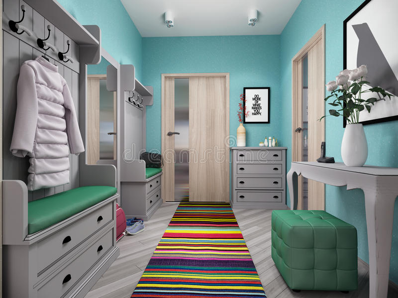 3d illustration of small apartments in pastel colors. Lobby royalty free illustration