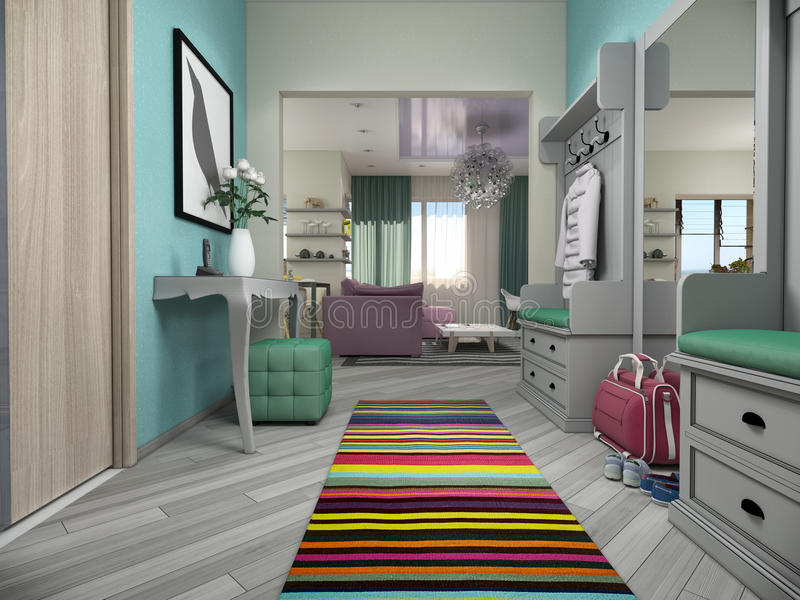 3d illustration of small apartments in pastel colors. Lobby and living room stock illustration