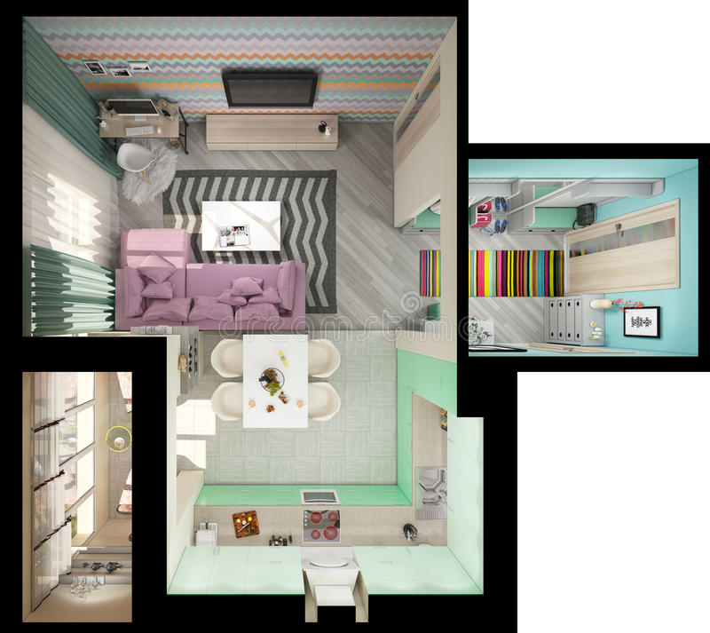 3d illustration of small apartments in pastel colors. Top view vector illustration
