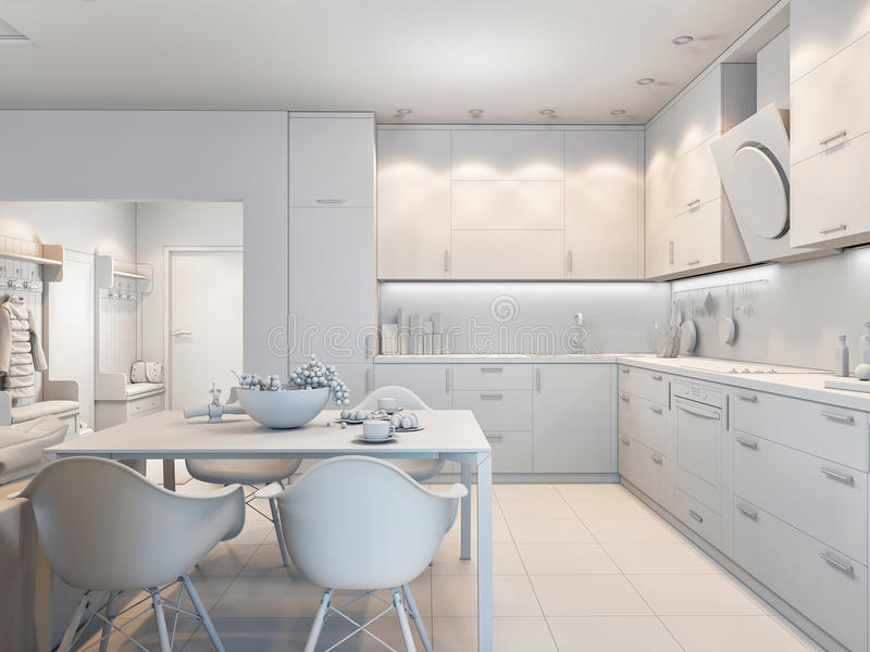 3d illustration of small apartments without textures in white color. 3d render of small apartments without textures in white color stock illustration