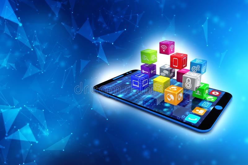 Social Media Icons with smartphone in digital background. 3d render vector illustration