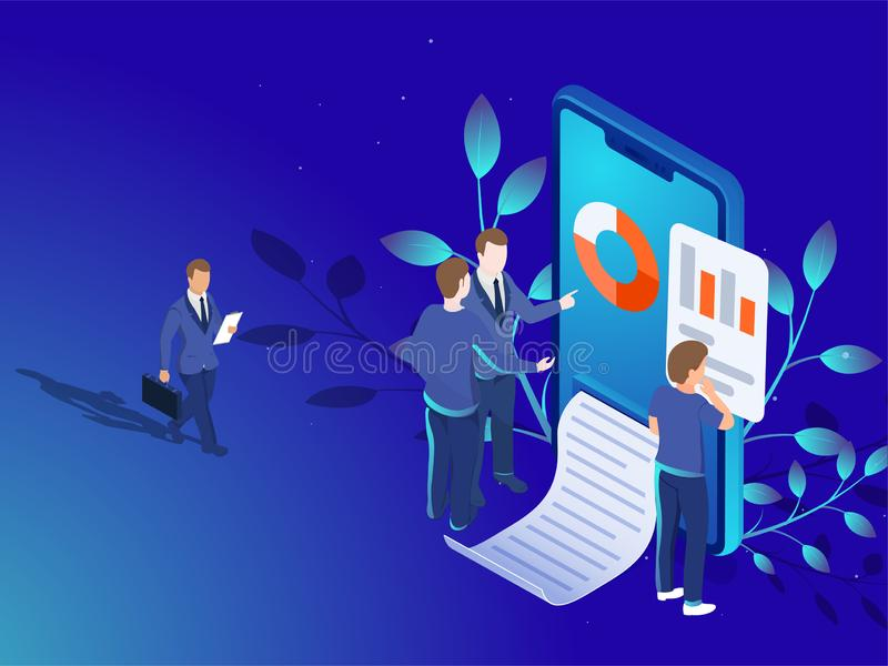 3D illustration of smartphone with business people or analytics vector illustration