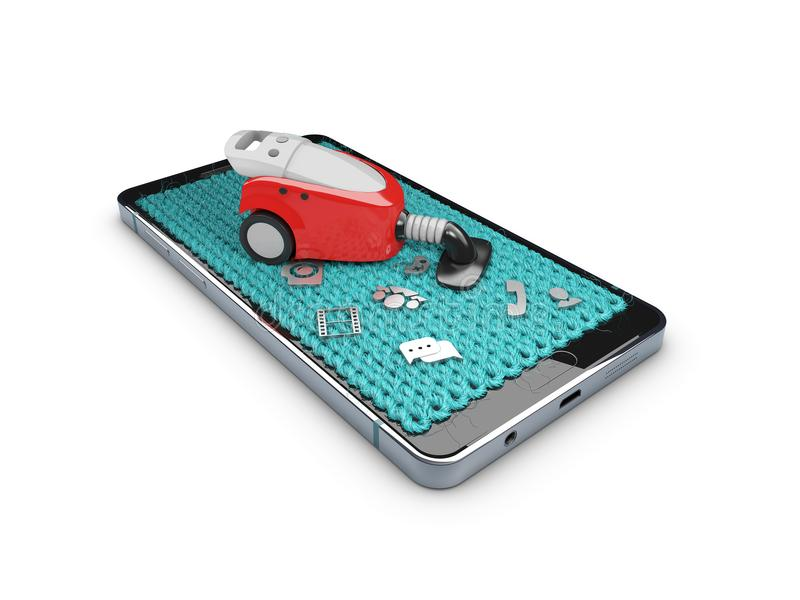3d illustration of smartphone in style carpet with hoover , concept clear your phone, isolated white stock illustration