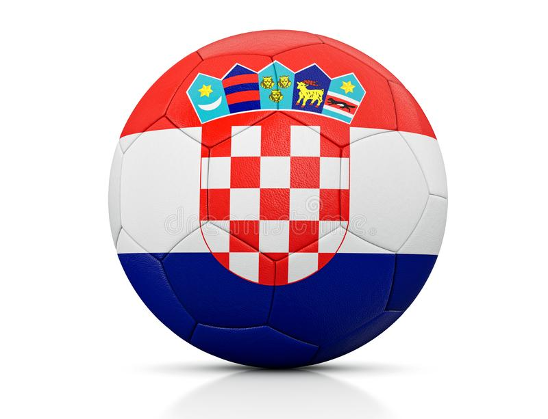 Soccer Ball, Classic soccer ball painted with the colors of the flag of Croatia and apparent leather texture in studio, 3D illustr royalty free illustration