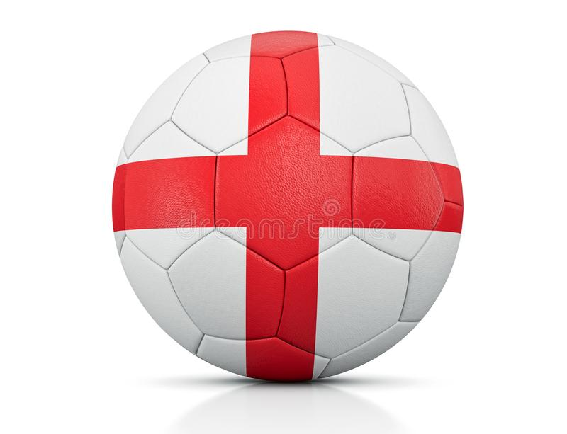 Soccer Ball, Classic soccer ball painted with the colors of the flag of England and apparent leather texture in studio, 3D illustr stock illustration