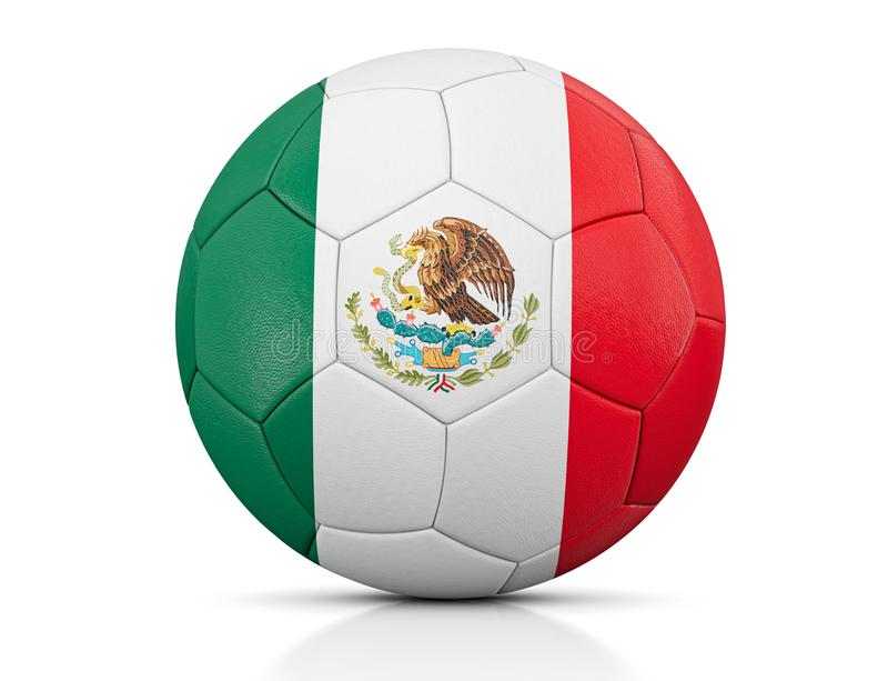 Soccer Ball, Classic soccer ball painted with the colors of the flag of Mexico and apparent leather texture in studio, 3D illustra stock illustration
