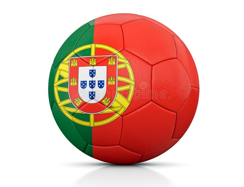 Soccer Ball, Classic soccer ball painted with the colors of the flag of Portugal and apparent leather texture in studio, 3D illust stock illustration