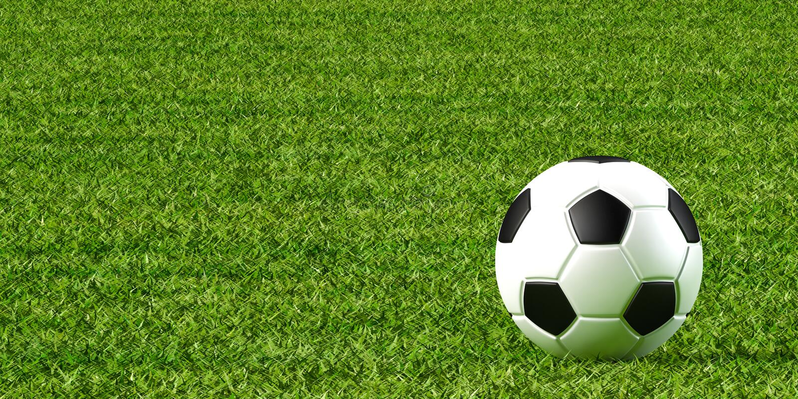 Soccer ball and lawn. 3d illustration of soccer ball and lawn vector illustration