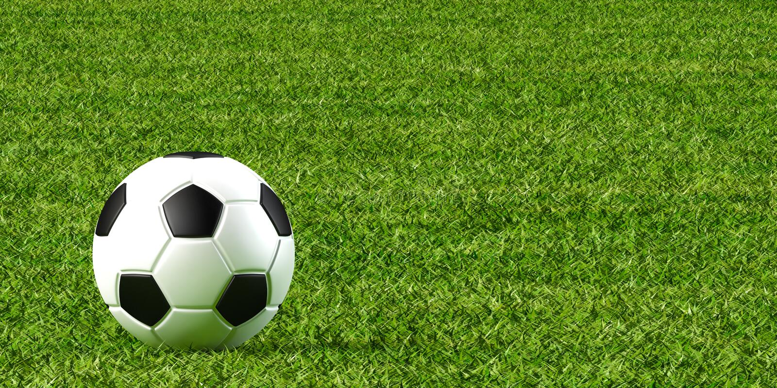 Soccer ball and lawn. 3d illustration of soccer ball and lawn stock illustration