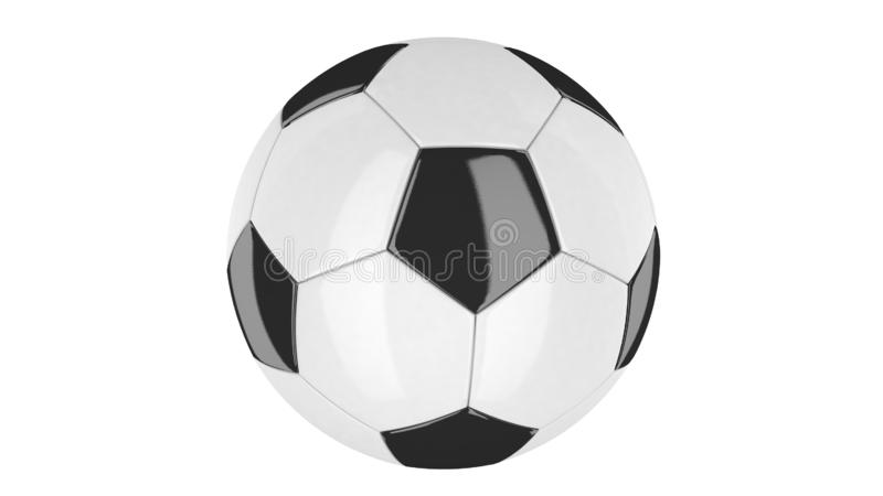 3D illustration of a Soccer Ball white and black with details on white background. Rounded geometry pentagons for TV Background. Soccer game, online games royalty free illustration