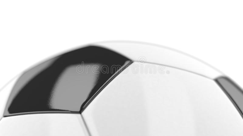 3D illustration of a Soccer Ball white and black with details on white background. Rounded geometry pentagons for TV Background. Soccer game, online games vector illustration