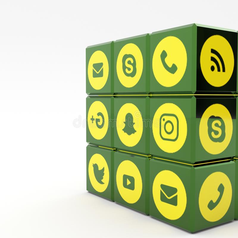 3d illustration Social media icons. 3d illustration Cube with Social media icons stock photos