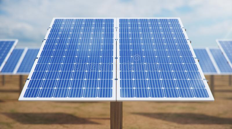 3D illustration Solar Panels. Alternative energy. Concept of renewable energy. Ecological, clean energy. Solar panels royalty free stock photo