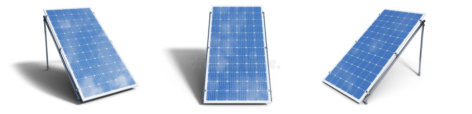 3D illustration solar panels isolated on white background. Set solar panels with reflection beautiful blue sky. Concept. Of renewable energy. Ecological, clean royalty free stock image
