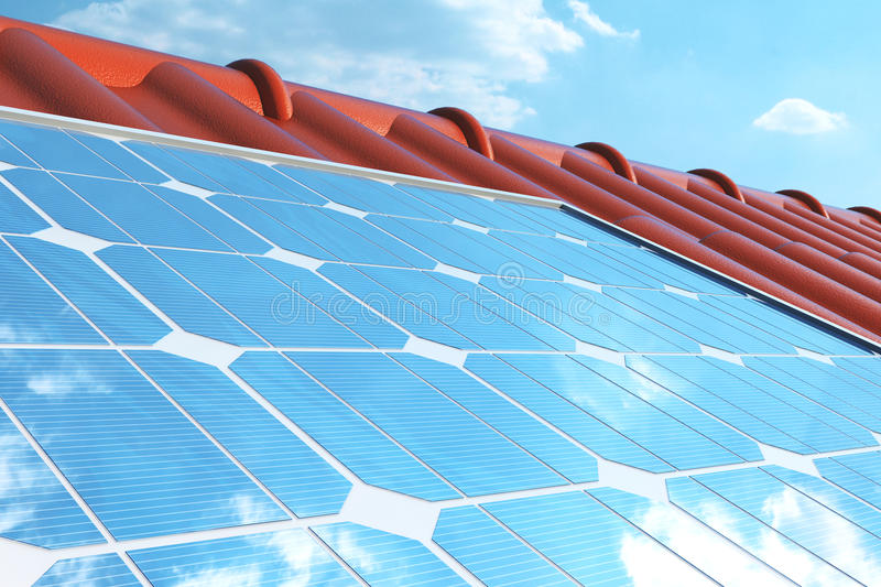 3D illustration solar panels on a red roof reflecting the cloudless blue sky. Energy and electricity. Alternative energy. Eco or green generators. Power stock illustration