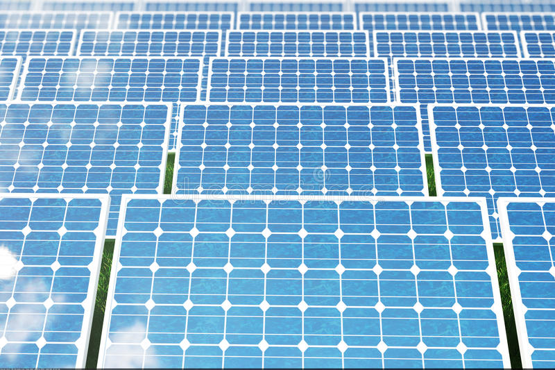 3D illustration solar panels reflecting the cloudless blue sky. Energy and electricity. Alternative energy, eco or green. 3D illustration solar panels on a red stock illustration