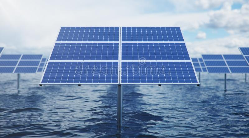 3D illustration solar panels in the sea or ocean. Alternative energy. Concept of renewable energy. Ecological, clean stock illustration