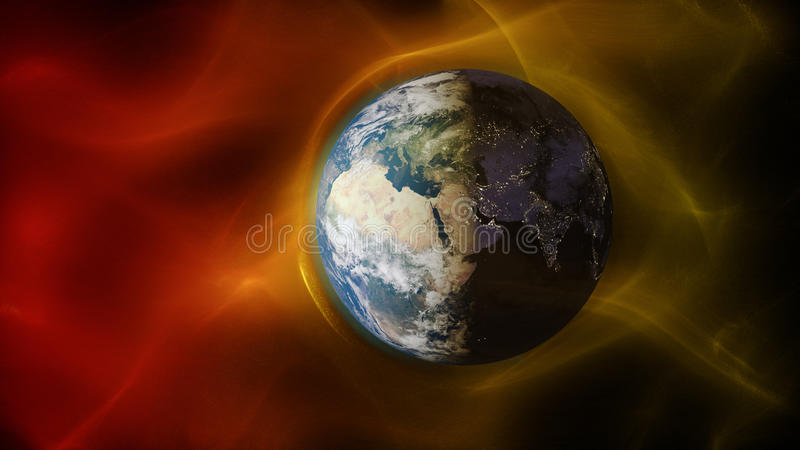 3d illustration of solar wind colliding with earth`s magnetic field royalty free illustration