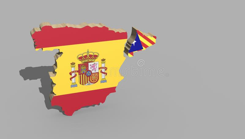 3d Map about independence of catalonia conflict stock illustration