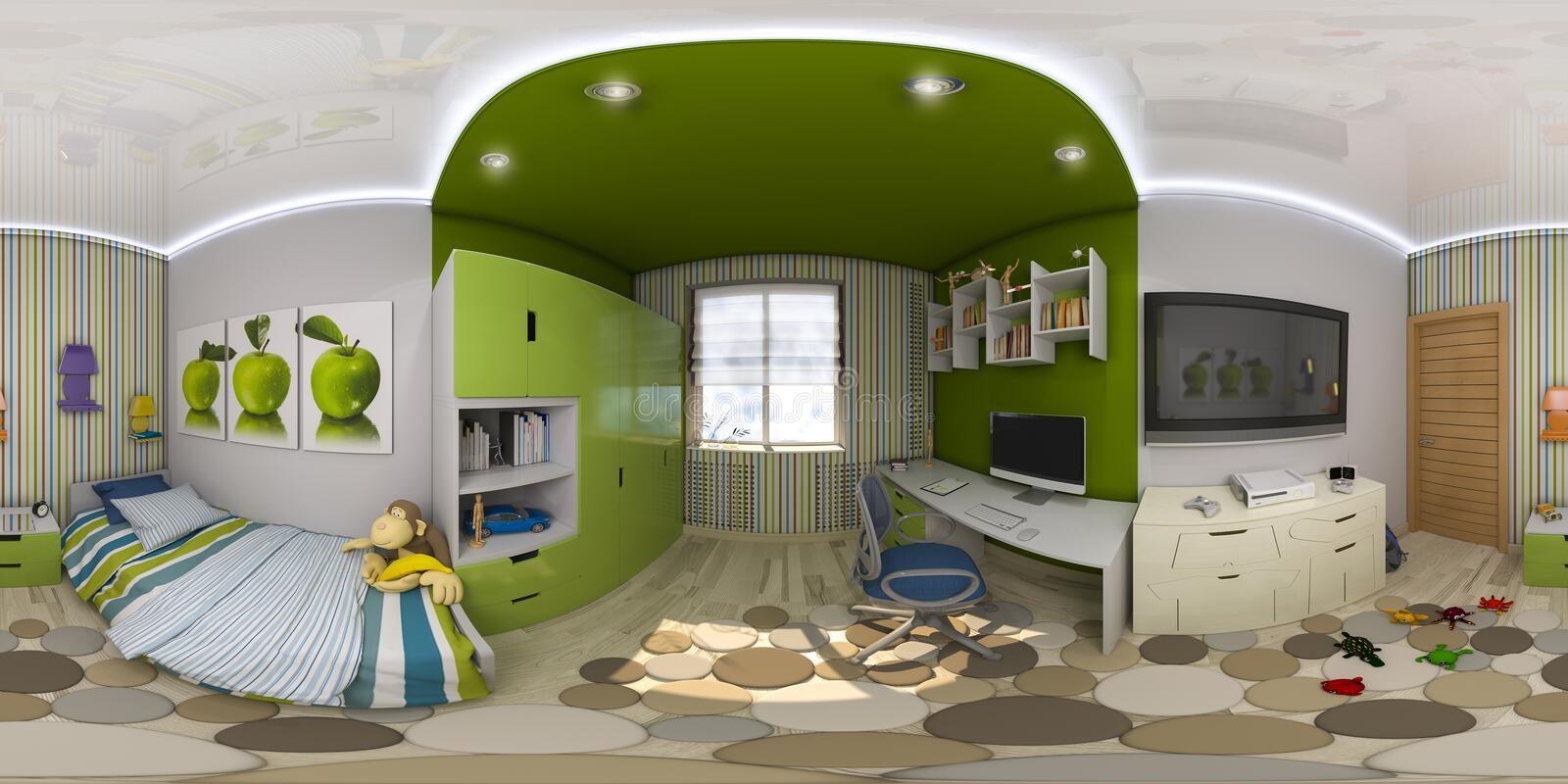 3d illustration spherical 360 degrees, seamless panorama of chil. Dren's room interior design. Design a child's room is in green and blue tones royalty free illustration
