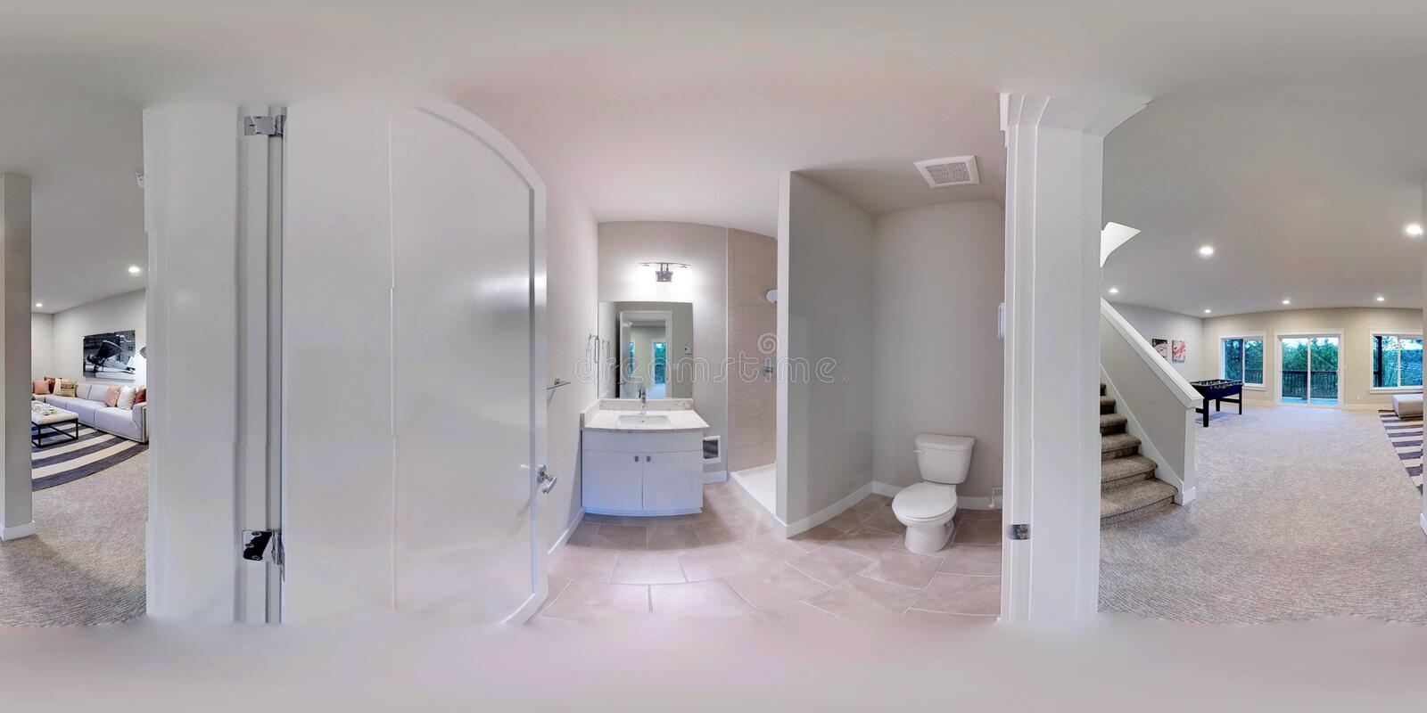 3d illustration spherical 360 degrees, seamless panorama of a house royalty free stock photography