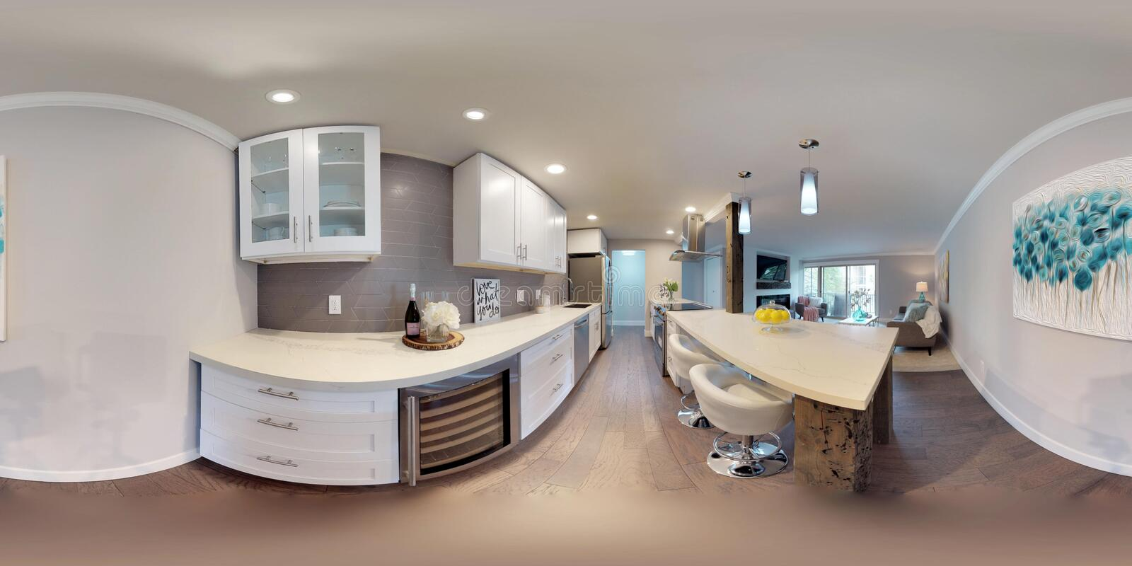 3d illustration spherical 360 degrees, a seamless panorama of kitchen stock images