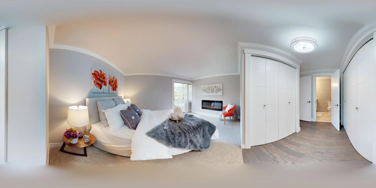 3d illustration spherical 360 degrees, a seamless panorama of master bedroom. royalty free stock image