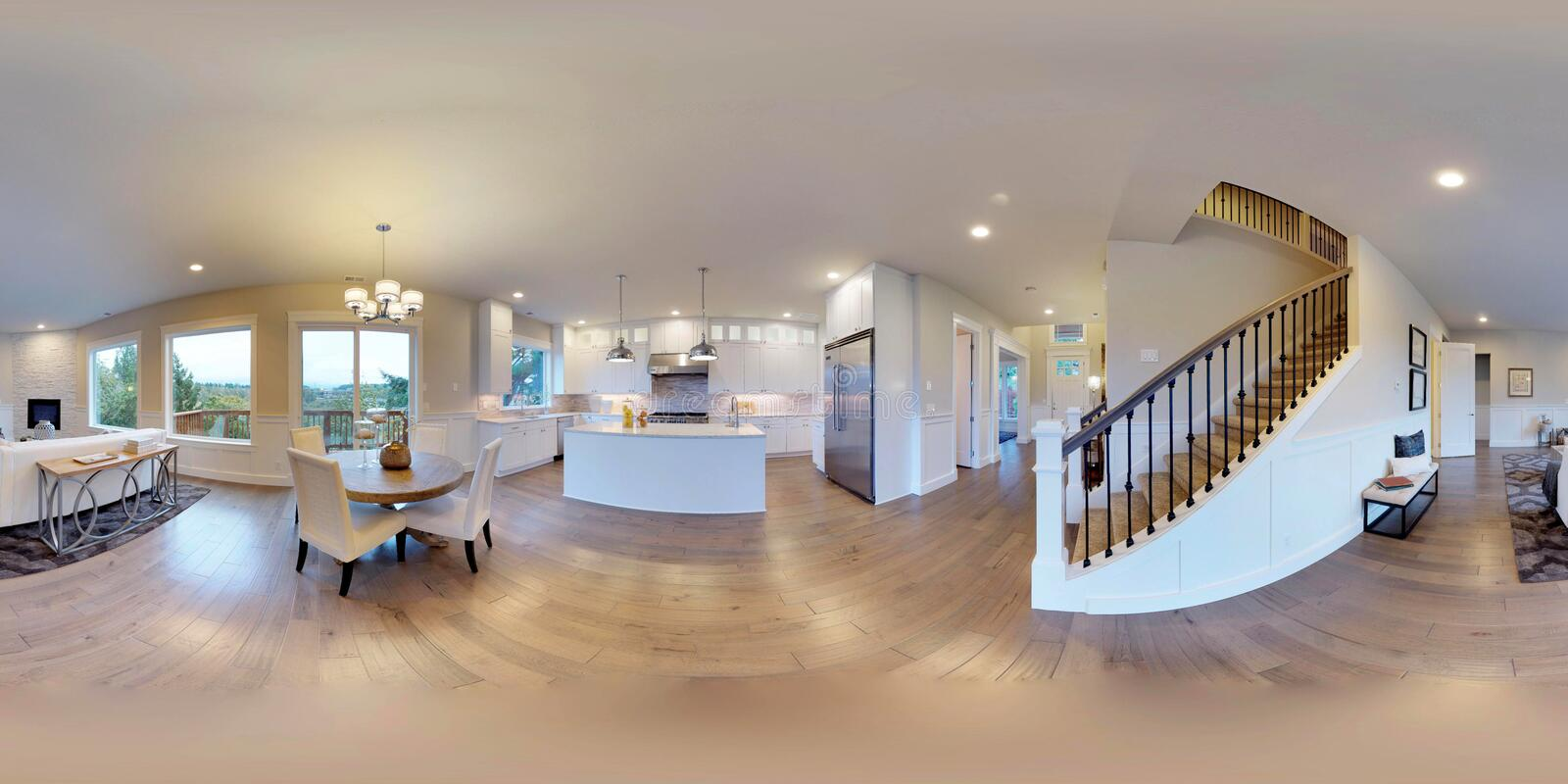 3d illustration spherical 360 degrees, seamless panorama of interior design stock photography