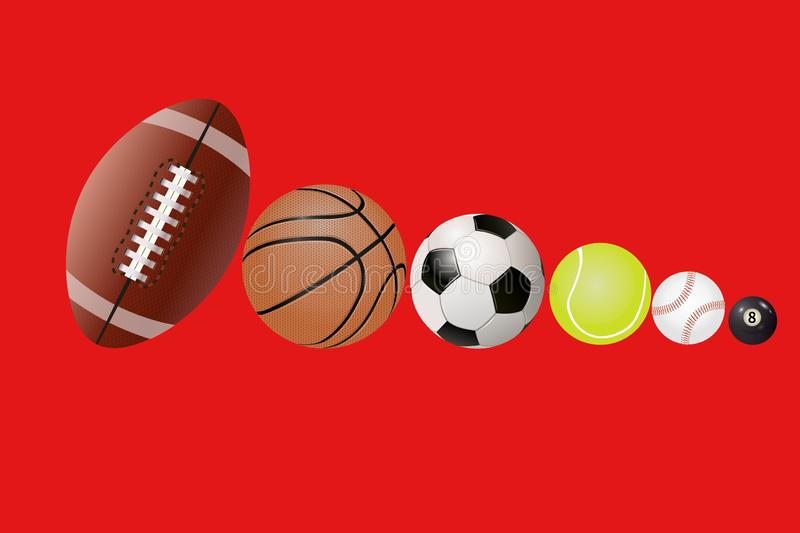 3d illustration of sports ball on red background. Set, collection, game, playing, action, american, rugby, basketball, tennis, bowling, circle, object, new royalty free stock image