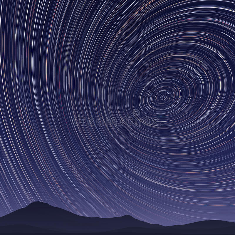 star trails night royalty free illustration