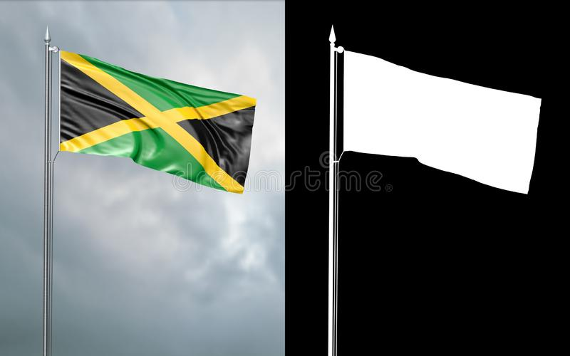 State flag of Jamaica with alpha channel. 3d illustration of the state flag of Jamaica, which throws wave-shaped folds in the wind on blurred background with royalty free illustration