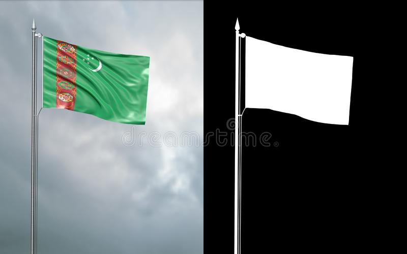 State flag of Turkmenistan with alpha channel. 3d illustration of the state flag of Turkmenistan , which throws wave-shaped folds in the wind on blurred royalty free illustration