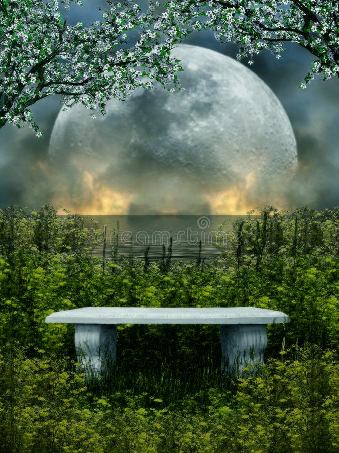 3D illustration of a stone seat isolated with nature and moon in the background royalty free illustration