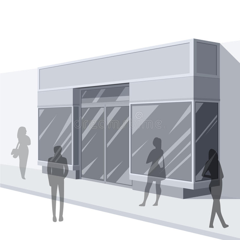 3D illustration of store front with shoppers stock illustration