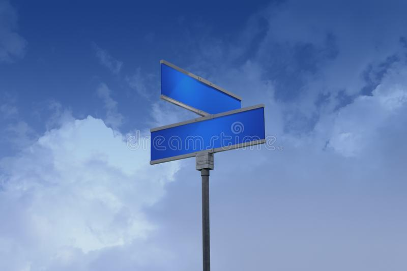 3D Illustration of a street sign_blank streets. A stylized 3D illustration of yellow street sign reading BLANK streets set against a blue sky with light clouds stock illustration